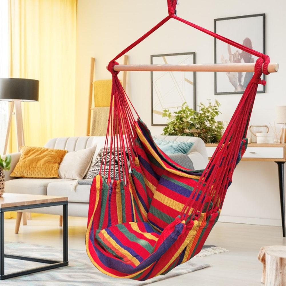Chaise suspendue chaise pivotante avec deux oreillers un bâton en bois pour jardin extérieur adultes enfants chaise hamac