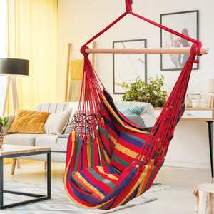 Chair Adults Hanging One-Wooden-Stick Outdoor with Two-Pillows for Garden Kids Hammock