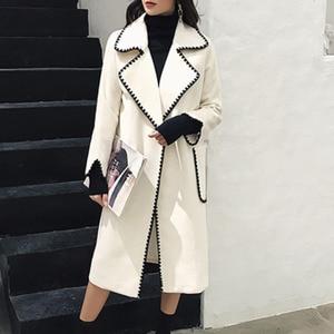 Image 2 - LANMREM Solid Color Wavy Pattern Large Pockets Belt Woolen Coat Casual Fashion Loose Plus Woman 2020 Autumn Winter New TC981