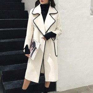 Image 2 - LANMREM patrón ondulado de Color sólido bolsillos grandes cinturón de lana abrigo Casual moda suelta más mujer 2020 otoño invierno nuevo TC981