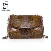 SEVEN SKIN Brand 2017 Vintage Design Women Messenger Bag High Quality Genuine Leather Shoulder Bag Female