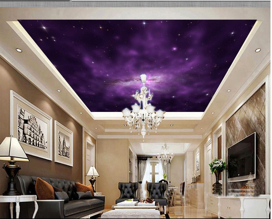 wallpaper 3d ceiling purple fantasy night sky zenith