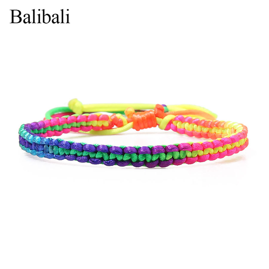 Balibali Trendy 5 MM Width Bracelet Maxi Colorful Woven Rope-Rope Braided Bracelets Handmade Adjustable Rainbow Friendship Gift