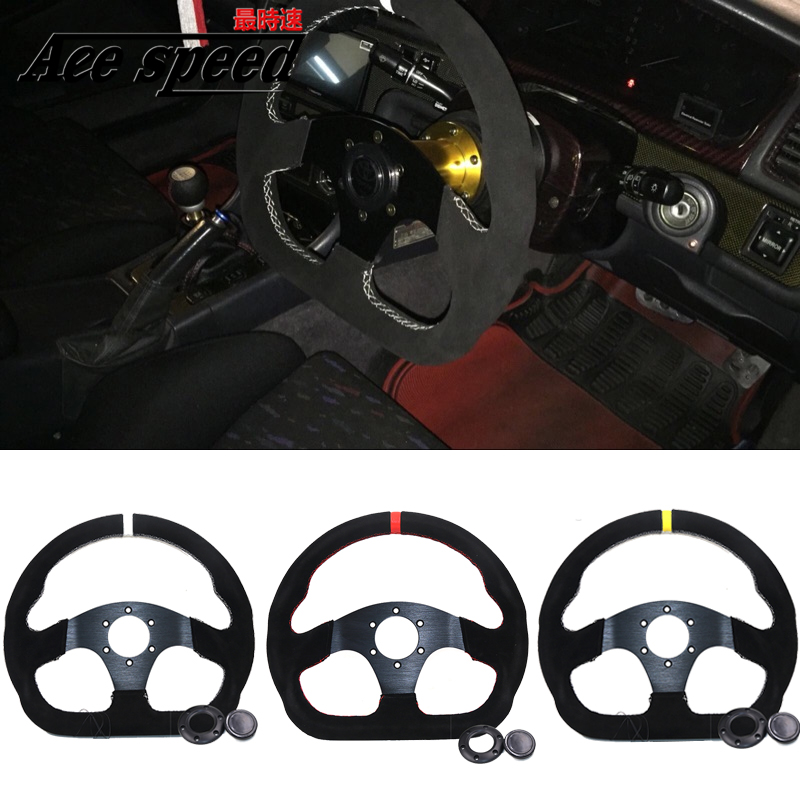 13inch 330mm Type D Steering Wheel Suede Leather Steering Wheel Flat Game Steering Wheel black red