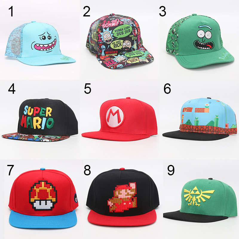 Rick and Morty Hats super mario Caps Adjustable Cotton Baseball hat Cap Snapback The Legend of Zelda Link Hat plush toy
