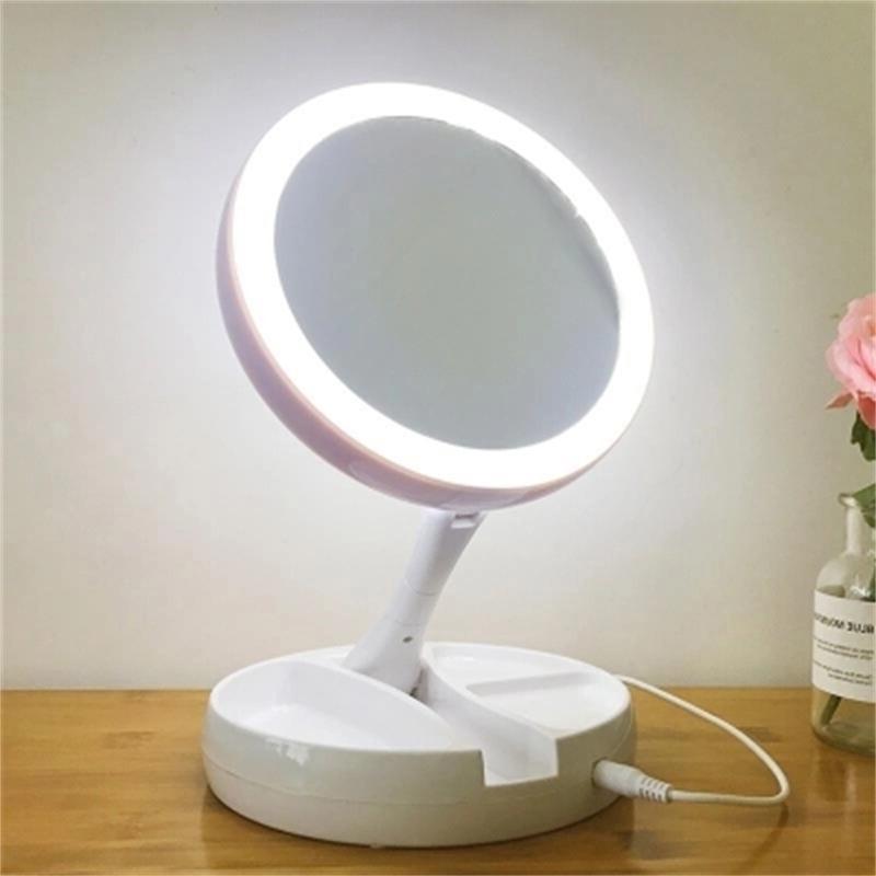 c43fb8928 Portable LED iluminado maquillaje espejo compacto de bolsillo espejos  vanidad mano cosmético 10X lupas 3 ce
