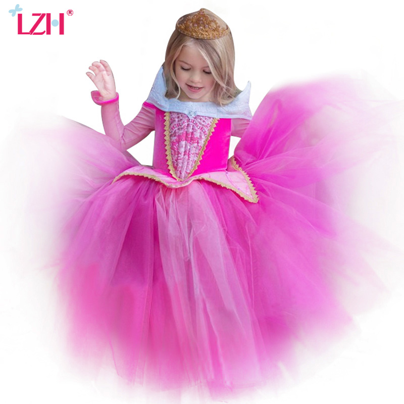 LZH 2017 Summer Cinderella Dress Girl Party Dress Sleeping Beauty Rapunzel Girl Princess Dress Costume For
