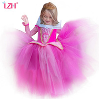 LZH Girls Sleeping Beauty Princess Party Dresses Children Fancy Rapunzel Dress Easter Carnival Costume For Kids