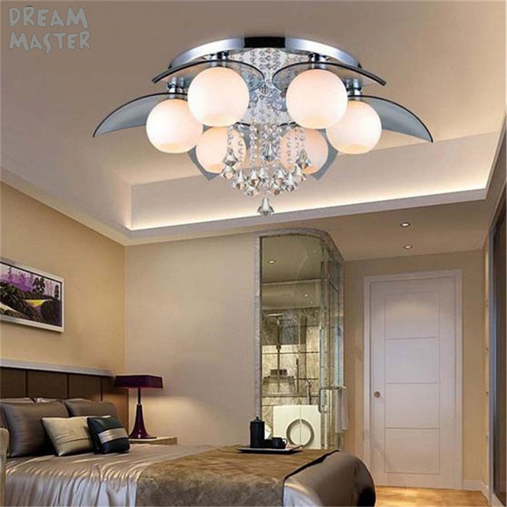 220V Remote Control LED Chandeliers Crystal Luster Lamps