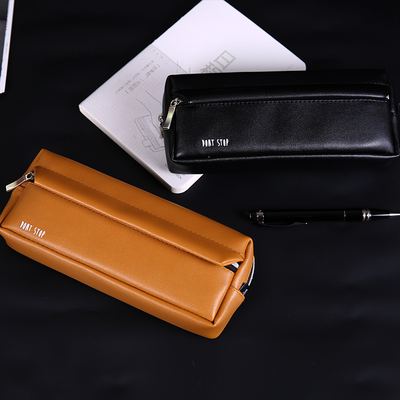 PU Leather Pencil Bags Brief Solid Color Large Capacity Pencil Case High Quality Student Gift Korean Stationery School Supplies big capacity high quality canvas shark double layers pen pencil holder makeup case bag for school student with combination coded lock