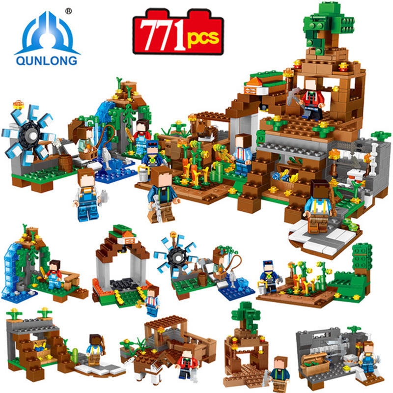 Qunlong 0518 Toy Minecrafted Figures Building Blocks 8 in 1 My World Estate House Bricks For Kid Compatible Legoe Minecraft City 771pcs 8in1 minecrafted manor estate house my world model building blocks bricks set compatible legoed city boy toy for children