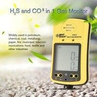 Умный датчик AS8903 Высокочувствительный CO газовый датчик монитор ЖК дисплей 2 в 1 Угарный газ/сероводород детектор газа