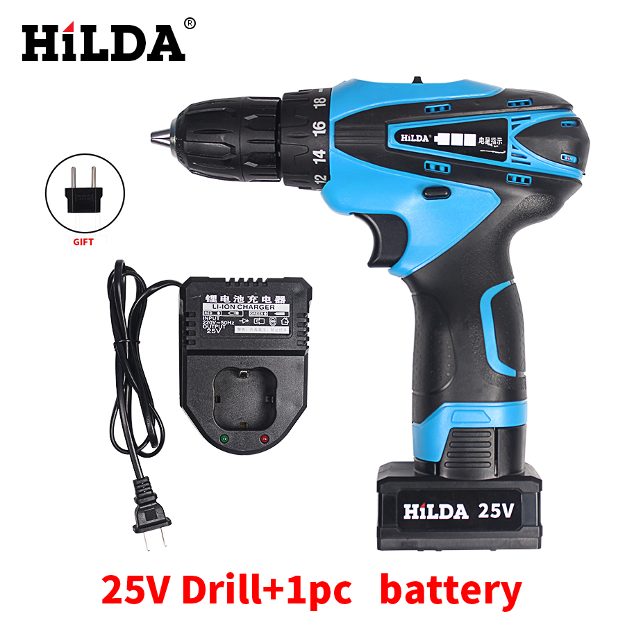 HILDA 25V Electric Screwdriver Rechargeable Drill With 1 Pcs Lithium Battery Cordless Screwdriver Electric Drill Power Tools 2016 45 pcs rechargeable cordless reversible electric screwdriver 4 8v kit set hot handheld electric screwdriver
