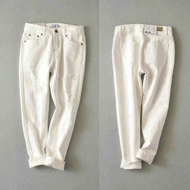 2016 summer new European style wild low-waist hole denim trousers female street fashion casual pants female feet pants