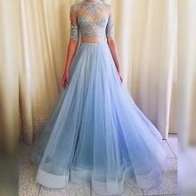 Mode Saudi Arabisch Light Blue Prom Dresses Spitze Appliques zwei Stück Abendkleider Ballkleid Vestido De Festa Longo