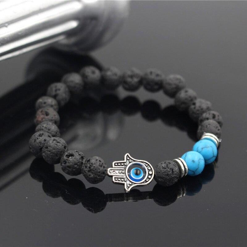 Jewellery & Watches Bracelets Mens Bead Bracelets Lava Stone Stretch Hand of Hand Charm Bracelet of Eye Bracelet