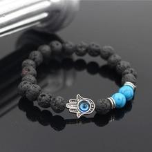 PINIYA Mens Bead Bracelets Lava,Howlite Stone Stretch Hand Of Fatima Hamsa Charm Bracelet Mala Evil Eye