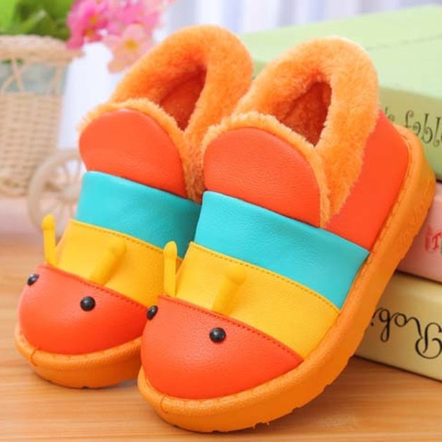 2015 Winter cartoon caterpillar children home slippers girls shoes waterproof boys snow boots comfortable warm kids cotton shoes