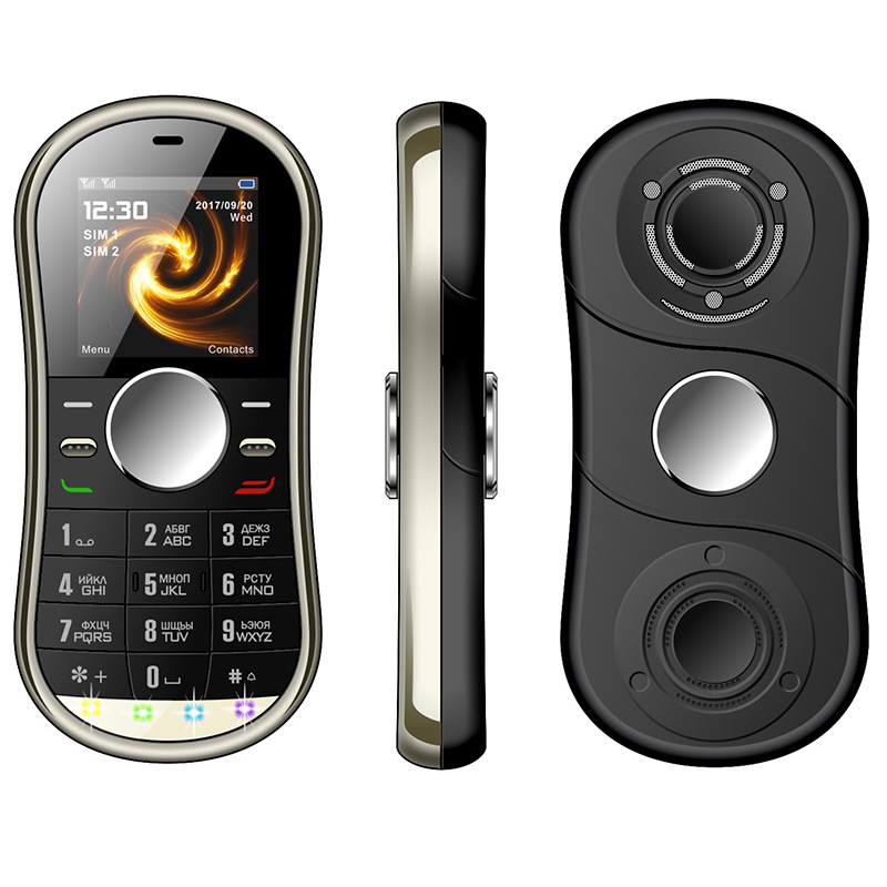 NEW S08 Fidget Spinner Mobile Phone 1.3inch Dual SIM Card GPRS Bluetooth FM Radio Hand Spinner Cellphone With Russian Keyboard