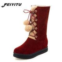 feiyitu Furry Snow Boots Warmer Plush Platform Winter Flat Shoes Pom Pom Fur Ball Fluffy Mid Calf Booties Lace up Fashion