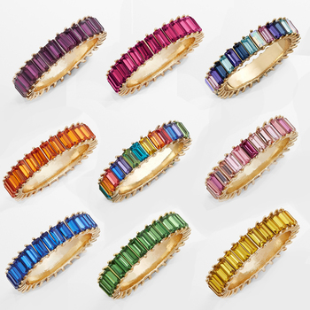 Hot sale rainbow ring thin line micro pave cz eternity 9 colors stack 925 silver rainbow cz rings