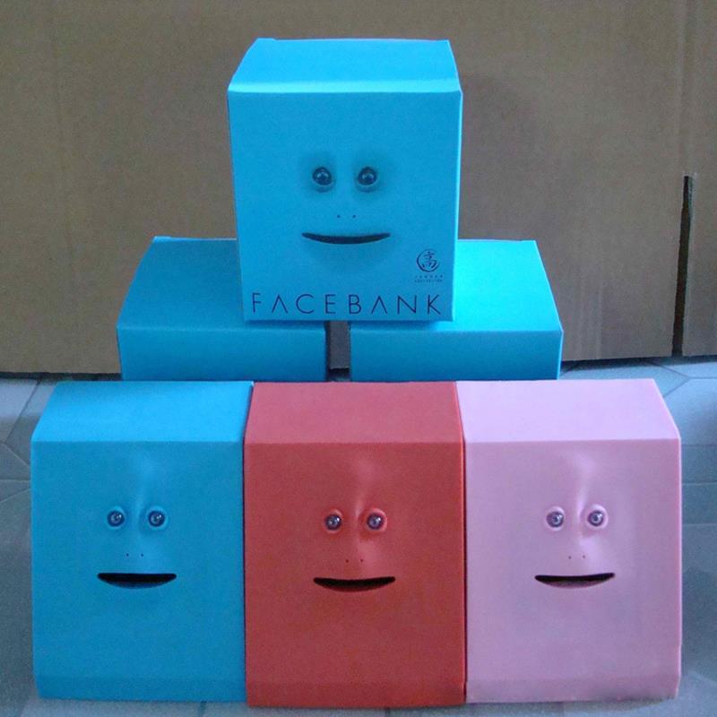 Hot selling cute facebank face money box sensor coin for Home money box