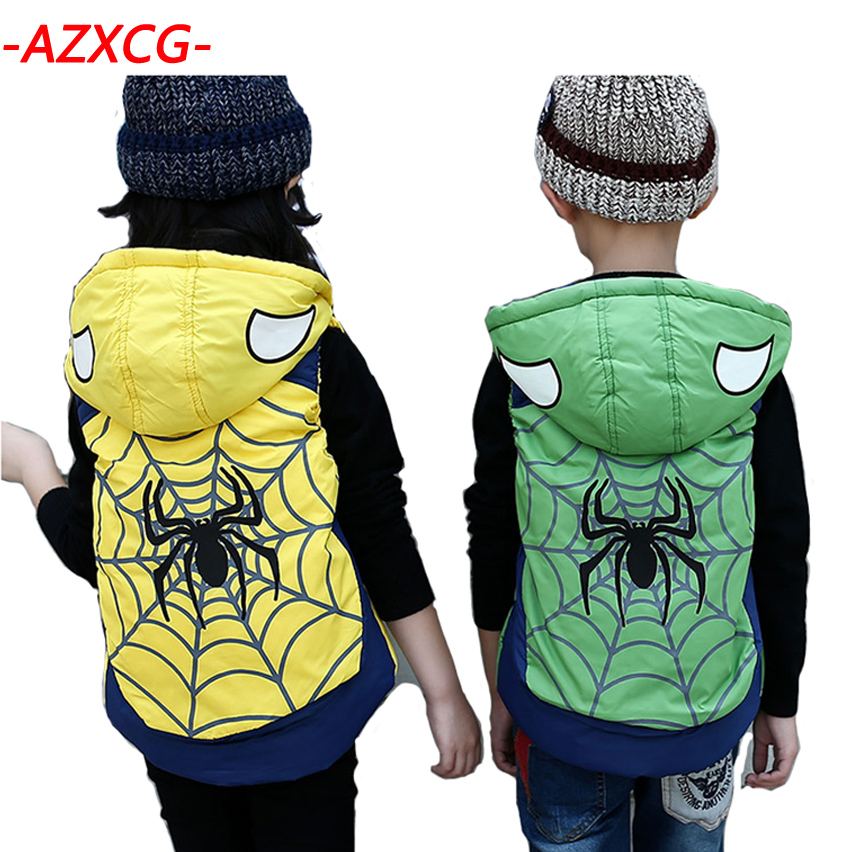 Boy Girls Spiderman Down Vest 2018 New Fashion Baby Waistcoat Girl Hooded Vest Kids Spider-man Down Jacket Boys Girl Hooded Vest цена