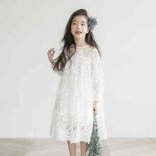 גדול בנות שמלת קיץ שמלות מפלגה נסיכת תחרה רקמה לבן שמלת הילדה בני נוער 4 6 8 10 11 12 14 Yrs ילדי בגדים