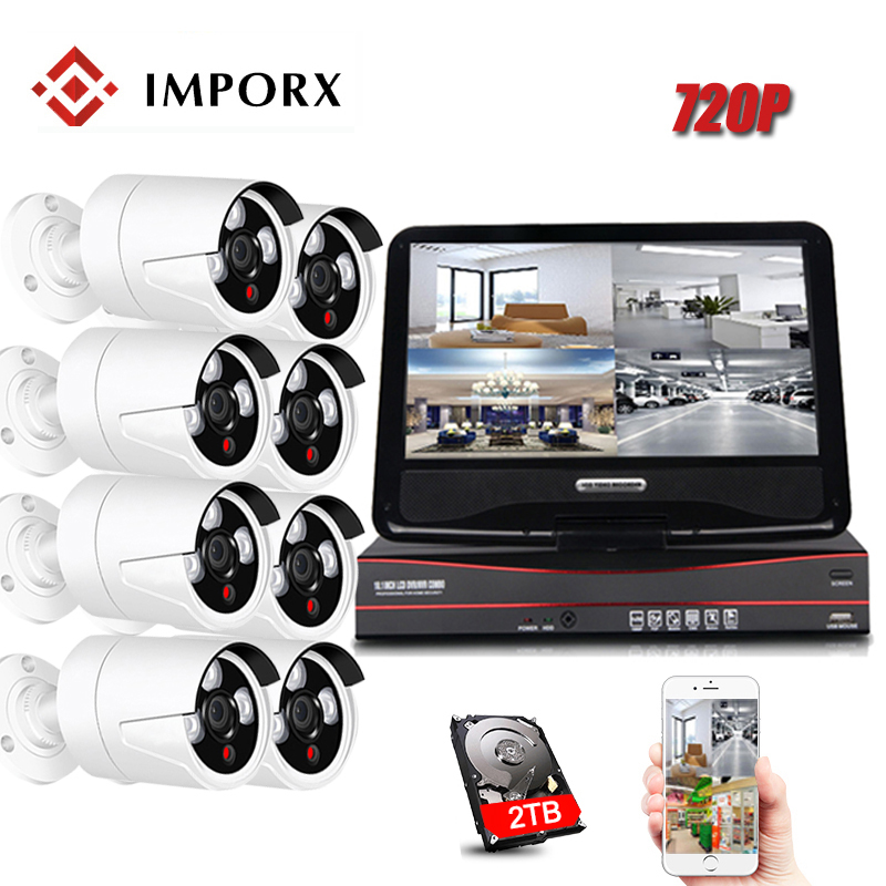 IMPORX 8CH NVR Kit 8PCS Cameras 720P HD CCTV Wifi Video Surveillance IR-CUT Outdoor Security Camera System With 10LCD 2TB HDDIMPORX 8CH NVR Kit 8PCS Cameras 720P HD CCTV Wifi Video Surveillance IR-CUT Outdoor Security Camera System With 10LCD 2TB HDD