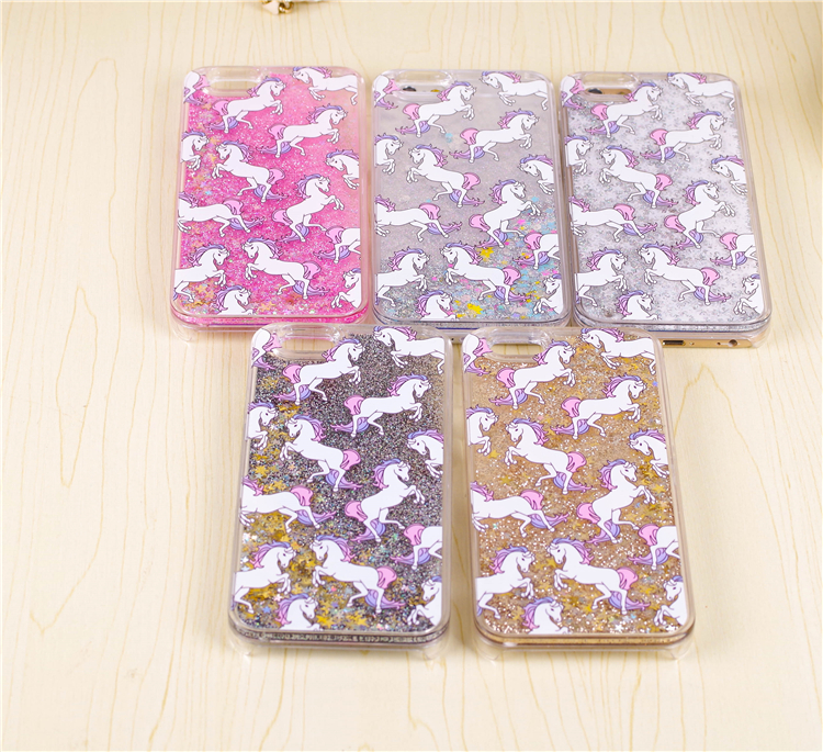 New Hot Cartoon Unicorn Horse Dynamic Paillette Glitter Stars Water Dynamic iquid Hard Phone Case Cover for iPhone 5s/6s/6Plus