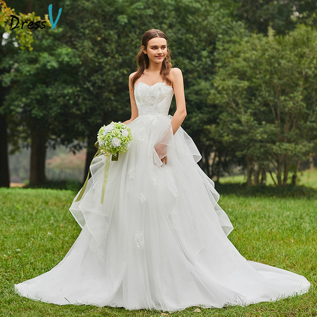 Dressv Long Wedding Dresses Sweetheart Neck Tulle Sleeveless Appliques Ball Gown Cathedral Train Garden Custom Wedding Dresses