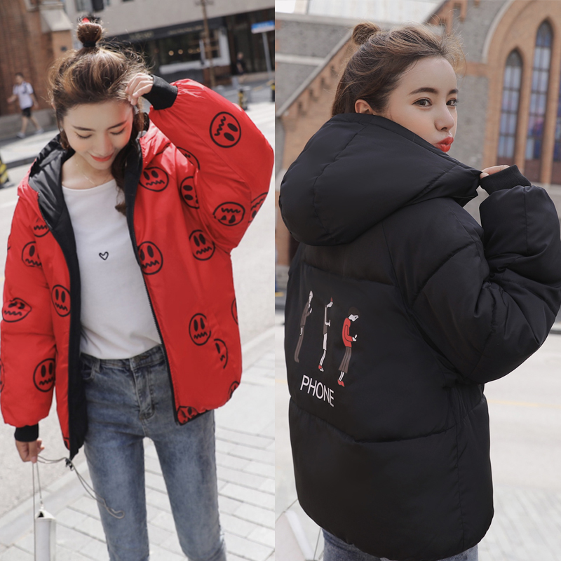 Both Two Sides Can Be Wore Women Winter Jacket Hooded Padded Warm Outwear Womens Coat Short 2019 New Arrival Female Coats