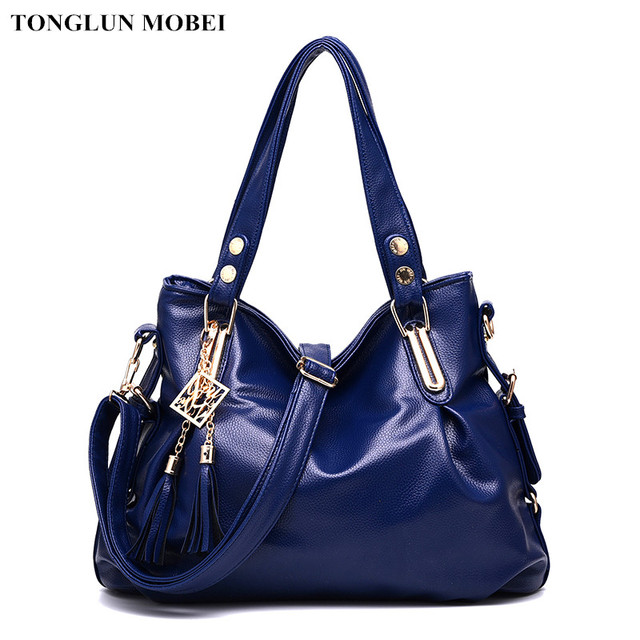 d0e95002bd2a2 TONGLUN MOBEI Vintage Dunkelblau Frauen Handtaschen Große Kapazität Laies  Tote Umhängetaschen Leder Messenger Bag sac ein