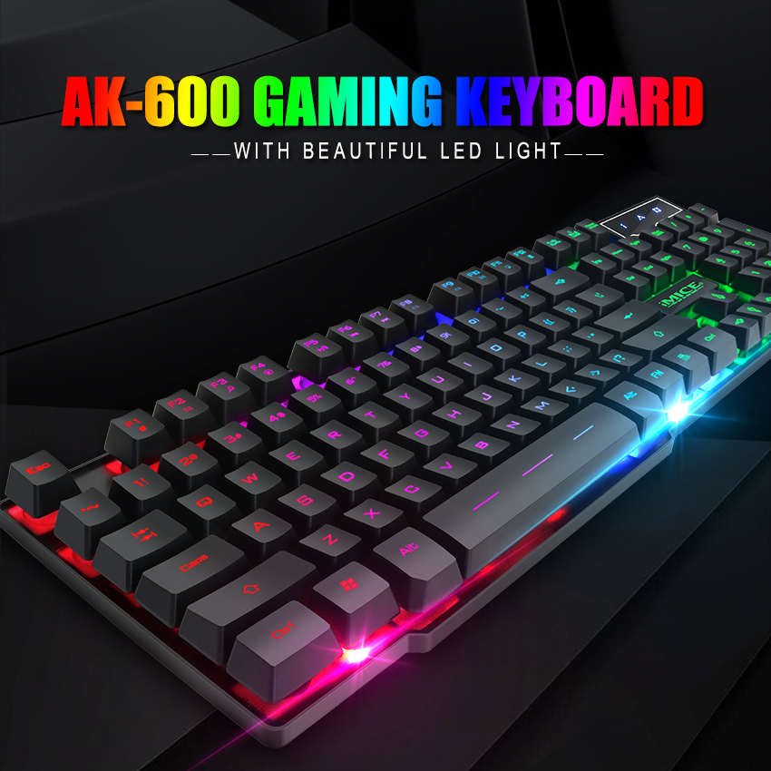 USB Mechanical Gaming Keyboard Wired 3 Colors LED Backlit Mutimedia PC Cheap NEW