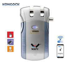 Keyless WIFI APP Smart Door Lock, Electronic Invisible Wireless Remote Control Easy Install Security Indoor Touching Unlock