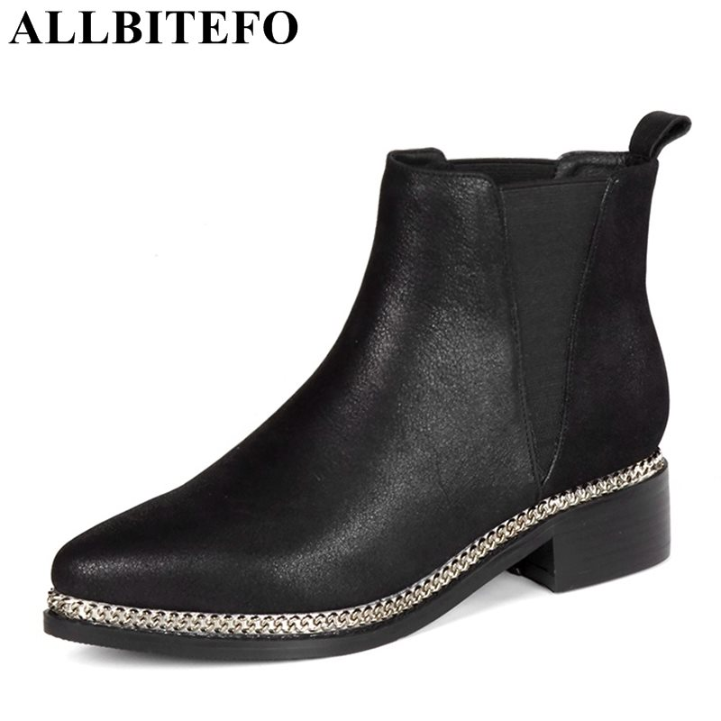 ALLBITEFO large size:33-43 genuine leather pointed toe medium heel martin boots thick heel metal charm women boots girls boots цена 2017