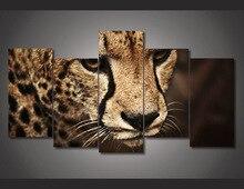 5 Piece Animal Cheetah Painting Wall Art Room Print Canvas