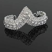 30 Pcs Rhinestone Bikini Connectors Crystal Buckles Diamond Buckle Shinny Sew On Applique 13x4cm