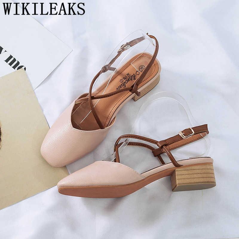 Pattini delle donne di estate sandali di cuoio delle donne tacco basso scarpe fetish di alta talloni delle donne dei sandali sandalias mujer 2019 blocco scarpe tacco