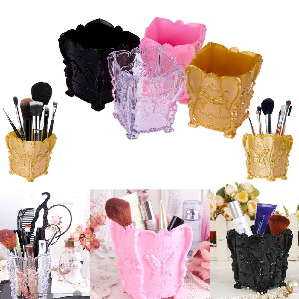 Fashion New Design 1pcs 4 colors Acrylic Makeup Cosmetic Storage Box Case Holder Brush Pen Organizer Decorative