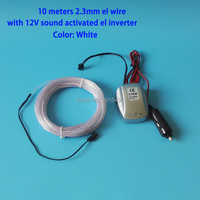 10Meters Flexible Neon Light 2 3mm White Glittery Led Strip EL Wire String Rope Tube DC12V