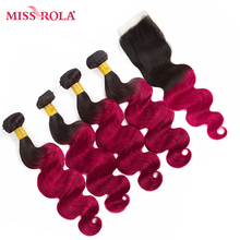 Miss Rola font b Hair b font Pre colored Ombre Indian Body Wave font b Hair