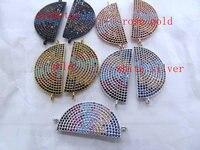 12pcs Assorted CZ Micro pave beads Diamond Crystal Eyes Micro Crystal Pave Diamond Jewelry Focal Half Round Disc Evil beads 28mm