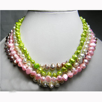 Terisa PearlJewelry 100 Real Pearl Necklace 18 Inches Green Pink White Lavender Baroque Freshwater Pearl Necklace