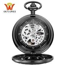 Original Fashion Brand OYW Mechanical Pocket Watch Men Male Full Steel Case Pocket Fob Watches Analog Steampunk Men Hombre Clock