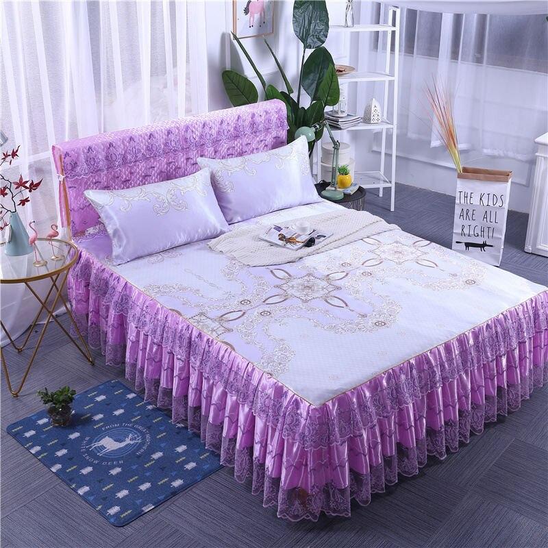1/3 pièces glace soie lit jupe multi-fonctionnelle lit feuille couverture impression dentelle décoration de la maison