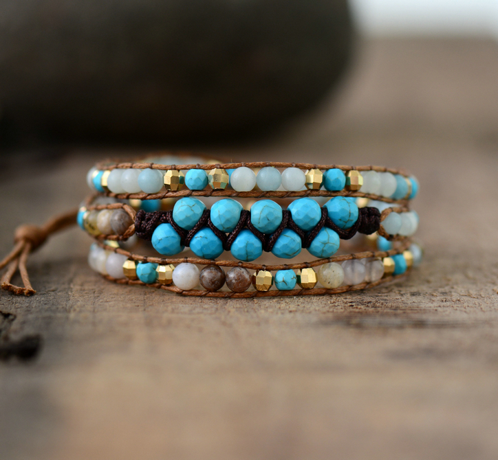 Women Wrap Bracelets Natural Stones Cord Bradided Beadwork Bracelet Boho Bracelets Holiday Gifts Dropshipping bracelet