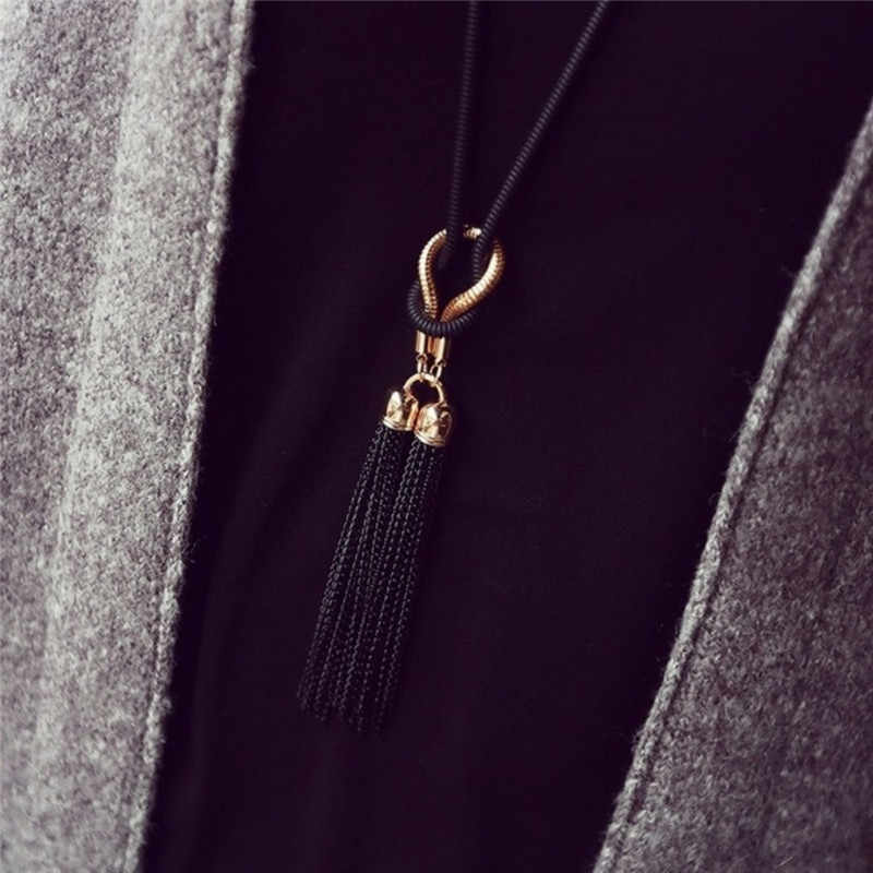 Moda tassel camisola colar de corrente para as mulheres encantadoras colares & pingentes jóias de luxo longo dangle colar presente