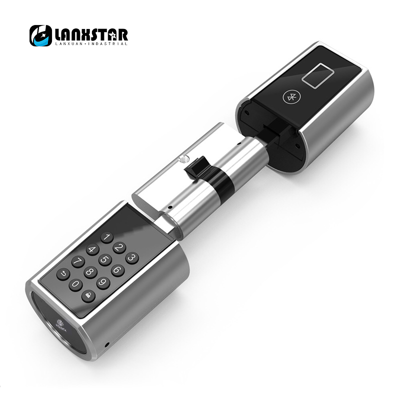 LANXSTAR Password Smart Lock Cylinder Home Keyless Electronic Lock Core with Bluetooth Mobile App Multi-function Intelligent
