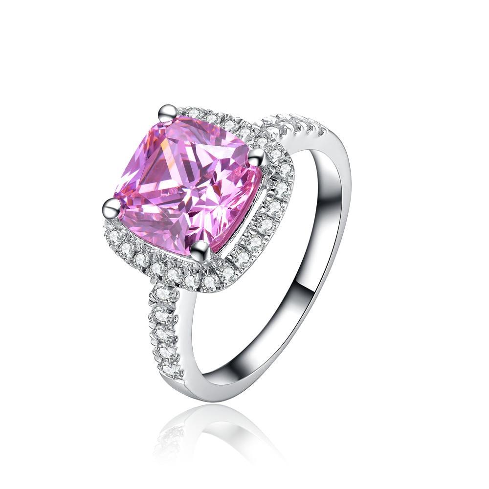 New Desgin Genuine 750 Gold Ring 1 Ct Princess Shape Cushion Cut Pink  Synthetic Diamonds Women